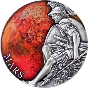 Stříbrná mince Mars 3 oz antique finish 2020