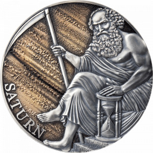 Stříbrná mince Saturn 3 oz antique finish 2021