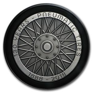 Stříbrná mince ve tvaru pneumatiky 2 Oz antique 2018