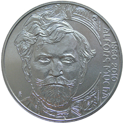 Stříbrná mince Alfons Mucha proof,