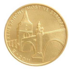 Zlatá mince Renesanční most ve Stříbře 1/2 oz b.k. 2011