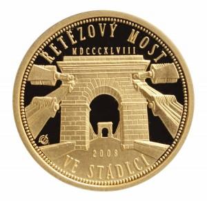 Zlatá mince Řetězový most ve Stádlci 1/4 oz proof
