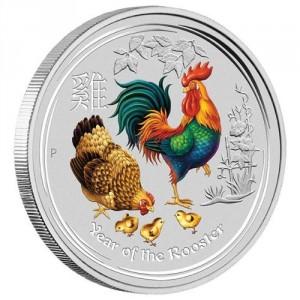 Stříbrná mince Rok Kohouta s drahokamem 1 kg 2017 Lunární série II