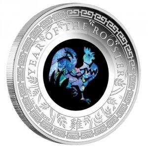 Stříbrná mince Opálová série Rok Kohouta 1 oz Lunární série II