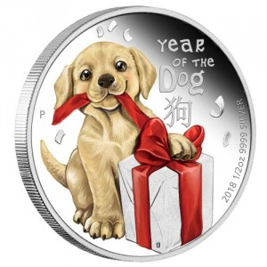 Stříbrná mince Rok Psa Baby1/2 oz proof 2018