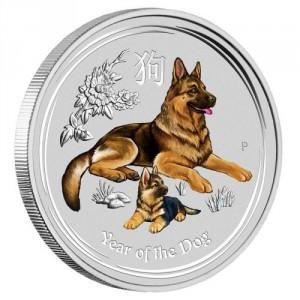 Stříbrná mince Rok Psa 1/4 oz kolor 2018