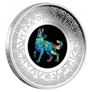 Střírbná mince Opálová série Rok Psa 1 oz 2018 Lunární série II