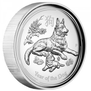 Stříbrná mince Rok Psa 1 oz proof vysoký reliéf 2018