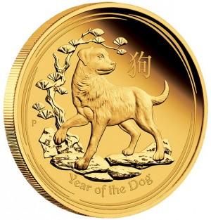 Zlatá mince Rok Psa 1 oz proof 2018 Lunární série II