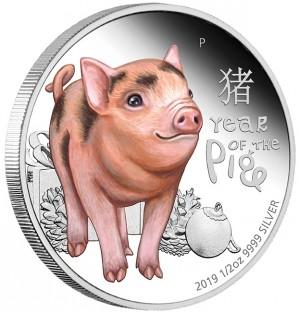 Stříbrná mince Stříbrná mince Rok Vepře Baby 1/2 oz proof 2019