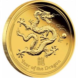 Zlatá mince Rok Draka 1 oz proof 2012 Lunární série II