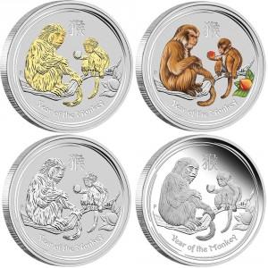 Sada 4 stříbrných mincí Rok Opice 4 x 1 oz proof 2016 Lunární série II