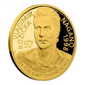 Zlatá mince Legendy čs. hokeje Vladimír Růžička 1/4 oz proof 2019