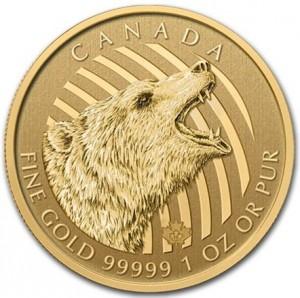 Zlatá mince Řvoucí Grizzly 1 oz