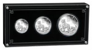 Sada 3 stříbrných mincí Rok Tygra 1/2 oz, 1 oz, 2 oz proof 2022 Lunární série III