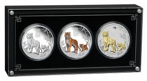 Sada stříbrných mincí Rok Tygra 3 x 1 oz trio 2022