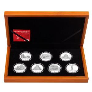 Sada 7 stříbrných mincí Sedm divů světa 7 x 1 oz proof