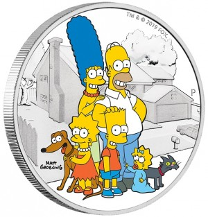 Stříbrná mince The Simpsons - rodina 2 oz proof 2019