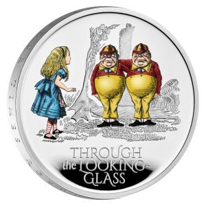 Stříbrná kolorovaná mince Alenka v zemi za zrcadlem 1 oz proof 2021