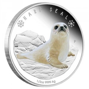 Stříbrná mince Polární Mláďata Tuleň 1/2 oz Proof 2017