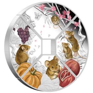 Stříbrná mince Rok myši 2020 4x1 oz Proof - kvadrant