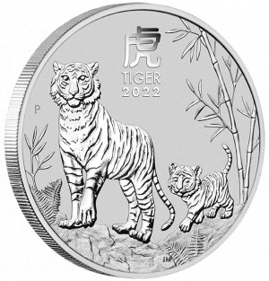 Stříbrná mince Rok Tygra 2 oz BU 2022 Lunární série III