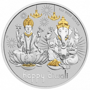 Stříbrná pozlacená medaile Diwali 1 oz 2021