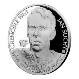 Stříbrná mince Legendy čs. hokeje Jan Suchý 29 g proof 2018