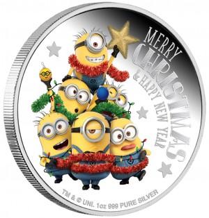 Stříbrná mince Mimoni a Vánoce 1 oz proof 2018