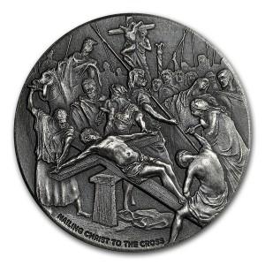 Stříbrná mince Biblická série Ukřižování Krista 2 oz 2017