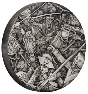 Stříbrná mince Válka Husaři 2 oz antique finish vysoký reliéf
