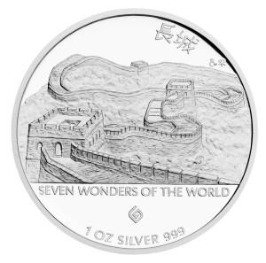 Stříbrná mince Velká čínská zeď - 長城 1 oz proof 2015