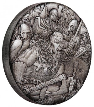 Stříbrná mince Válka Vikingové 2 oz antique finish vysoký reliéf