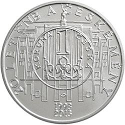 Stříbrná mince 20. výročí České národní banky b.k.