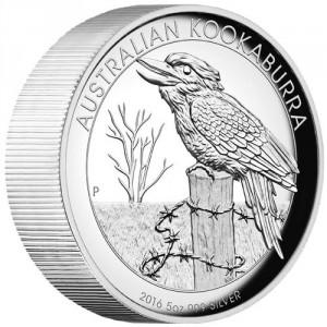 Stříbrná mince Australský kookaburra 5 oz proof vysoký reliéf