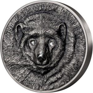 Stříbrná mince Rosomák 1 kg antique finish, Swarovski® crystal 2020