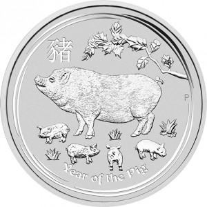 Stříbrná mince Rok Vepře 1/2 oz 2019 Lunární série II