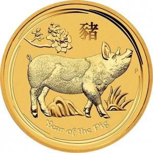 Zlatá mince Rok Vepře 1/4 oz 2019 Lunární série II