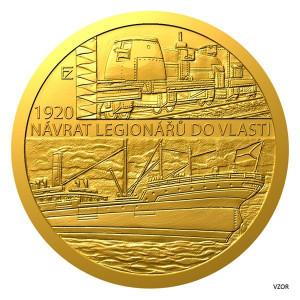 Zlatá mince Rok 1920 - Návrat legionářů do vlasti 1/4 oz proof