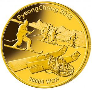 Zlatá mince ZOH PyeongChang 1 oz proof 2018