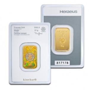 Zlatý investiční slitek 10 g Kinebar Heraeus