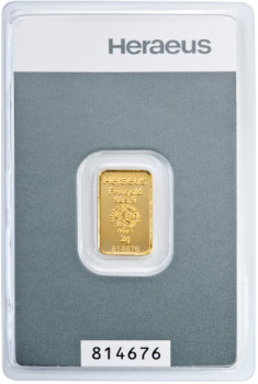 Zlatý investiční slitek 2 g Kinebar Heraeus